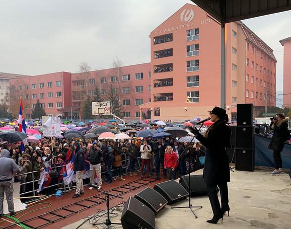 Ceca Ražnatović na koncertu u Kosovskoj Mitrovici u decembru 2018.