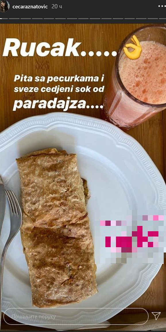 Ceca Ražnatović - ručak u izolaciji